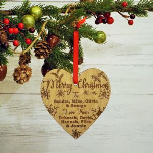 Merry Christmas Personalised Wooden Hanging Heart Bauble Decoration